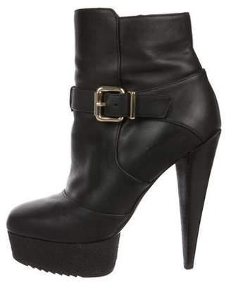 Fendi Leather Platform Ankle Booties