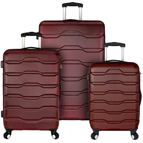 Elite Luggage Elite Omni 3pc Hardside Spinner Luggage Set - Red