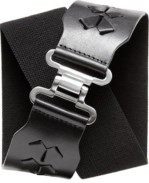 Stretch leather tab belt
