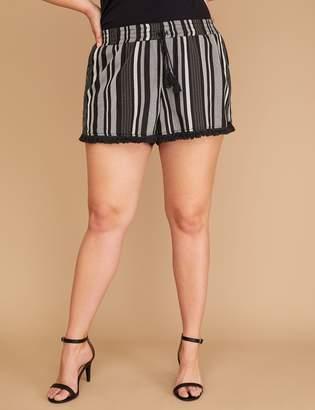 Lane Bryant Striped Fringe-Hem Soft Short