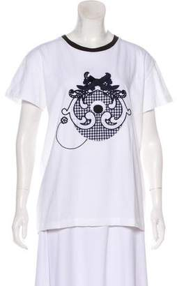 Mother of Pearl Embroidered Short Sleeve T-Shirt