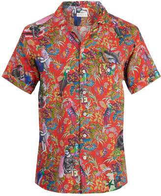 Etro Tropical-print short-sleeved linen shirt
