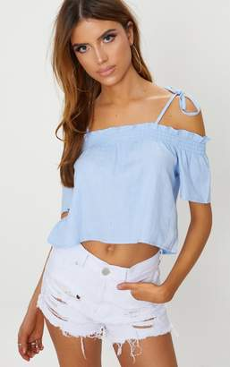 PrettyLittleThing Blue Chambray Smock Crop Top