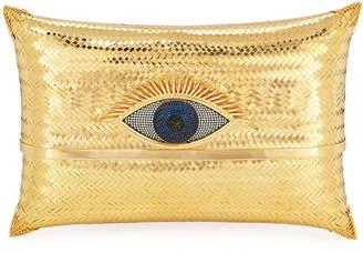 Begum Khan Evil Eye Cushion Small Minaudiere Clutch Bag, Gold