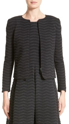 Women's Armani Collezioni Embossed Jacquard Jersey Jacket $695 thestylecure.com