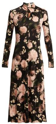 Erdem Nolene Dutch Petal Print Jersey Midi Dress - Womens - Black Pink