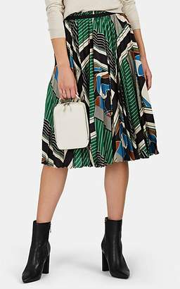 08sircus Women's Geometric-Print Satin Pleated-Front Midi-Skirt - Green Multi