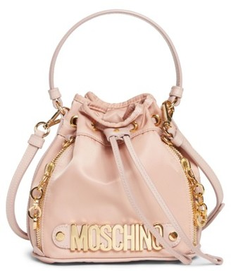 Moschino Letters Small Nylon Bucket Bag - Pink $495 thestylecure.com