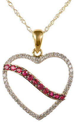 Tag Heuer FINE JEWELLERY Ruby and 0.138 Total Carat Weight Diamond with 14K Yellow Gold Heart Pendant Necklace