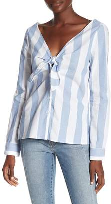 Socialite Striped Tie Front Blouse