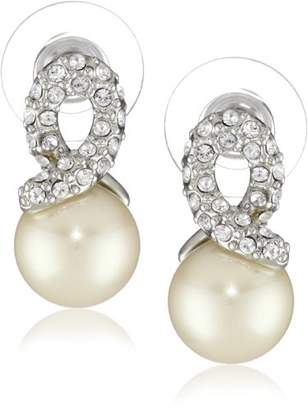 """Carolee Elegant Bride"""" Pearl with Silver-Tone Pave Crystal Knot Earrings"""