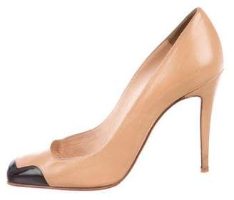 Christian Louboutin Leather Square-Toe Pumps