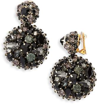 Oscar de la Renta Bold Disc Crystal Drop Earrings