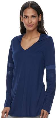Laundry by Shelli Segal Women's French Mesh Sleeve Hooded Tunic