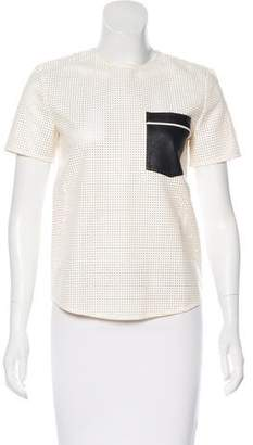 Self-Portrait Perforated Short Sleeve Top
