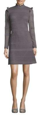 Adrianna Papell Ruffled Cable-Knit A-Line Dress