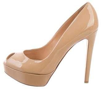 Christian Dior Patent Leather Peep-Toe Pumps