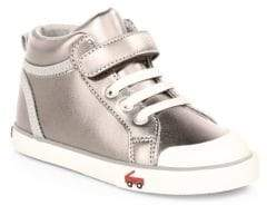 See Kai Run Kid's Peyton Leather High-Top Sneakers - Pewter - Size 5 (Baby)