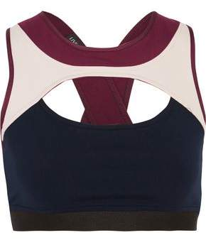 Live The Process Cutout Color-Block Stretch Sports Bra