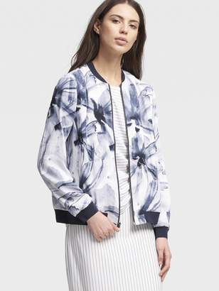 DKNY Watercolor Floral Bomber Jacket