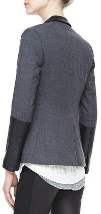 Rag and Bone Rag & Bone Timeless Leather-Sleeve Blazer