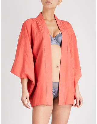 Kisshoten Flower in the Wind silk-jacquard kimono robe