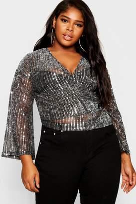 boohoo Plus Kimono Sleeve Sequin Wrap Top