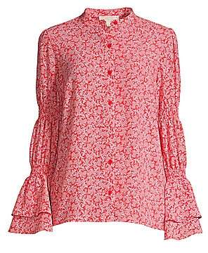 MICHAEL Michael Kors Women's Printed Gathered Sleeve Blouse