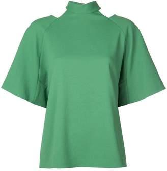 Tibi Chalky draped short sleeve shirt