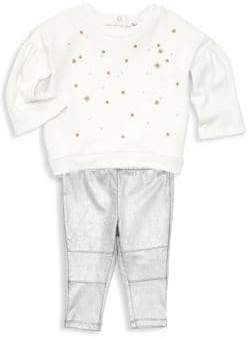 Splendid Baby Girl's Two-Piece Embroidered Sweater& Metallic Leggings Set