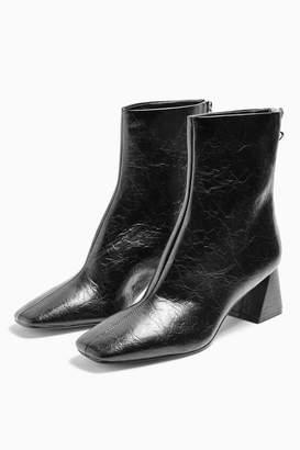 Topshop BREEZE Black Square Toe Boots