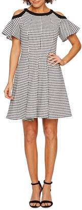 Danny & Nicole Short Cold Shoulder Sleeve Checked Fit & Flare Dress
