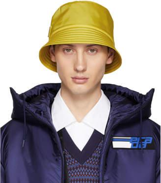Prada Yellow Logo Bucket Hat