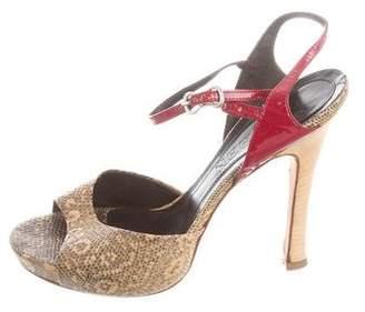 Alexander McQueen Lizard Ankle Strap Sandals