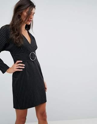 Asos DESIGN Stripe Mini 80's Dress with Metal Belt