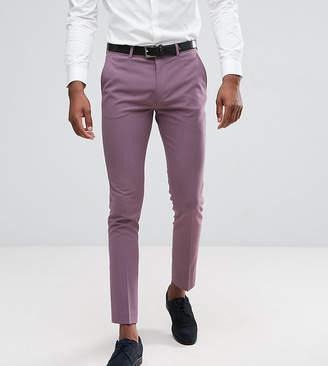 Asos DESIGN TALL Super Skinny Cropped Smart Pants In Damson