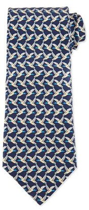 Salvatore Ferragamo Birds Flying-Print Silk Tie, Blue $190 thestylecure.com