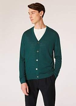 Men's Green Merino Wool Cardigan With Contrast Internal Trims