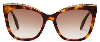 Alexander McQueen Oversized Cat Eye Acetate Sunglasses - Womens - Tortoiseshell