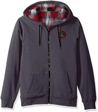 Hurley Men's Flannel Lined Zip Up Two Layer Hoodie with Patch Detail