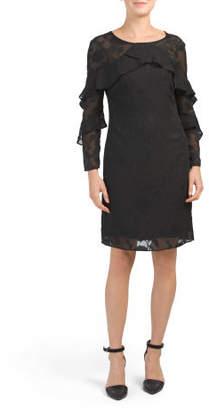 Jaquard Ruffle Detail Shift Dress