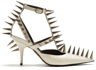 Balenciaga Spike Embellished Leather Pumps - Womens - White Silver