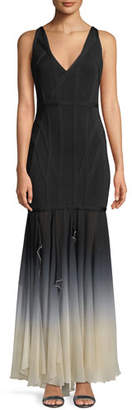 Herve Leger V-Neck Sleeveless Bandage Evening Gown with Ombre Chiffon Skirt