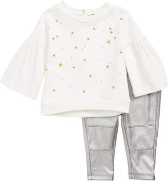 Splendid Star Embroidered Tee & Metallic Leggings Set
