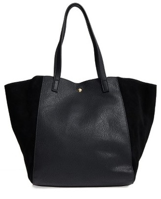 Sole Society Norah Slouchy Faux Leather & Suede Tote - Black $79.95 thestylecure.com
