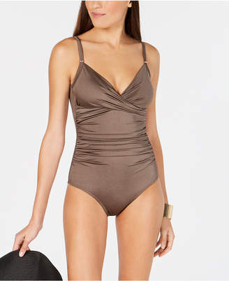 8bacd35c5b44f Calvin Klein Printed Twist-Front Tummy-Control One-Piece Swimsuit, Women  Swimsuit