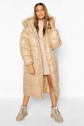 boohoo Longline Cire Faux Fur Trim Puffer