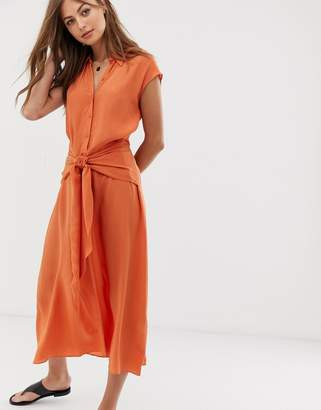 And other stories &  waist knot midi dress in orange