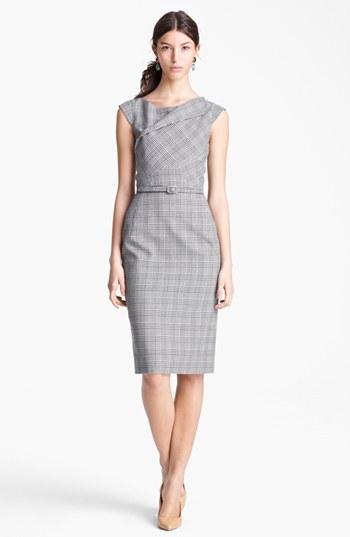Belted Glen Plaid Dress