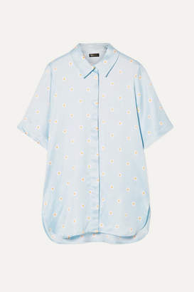 Stine Goya Zoey Oversized Floral-print Satin Shirt - Sky blue